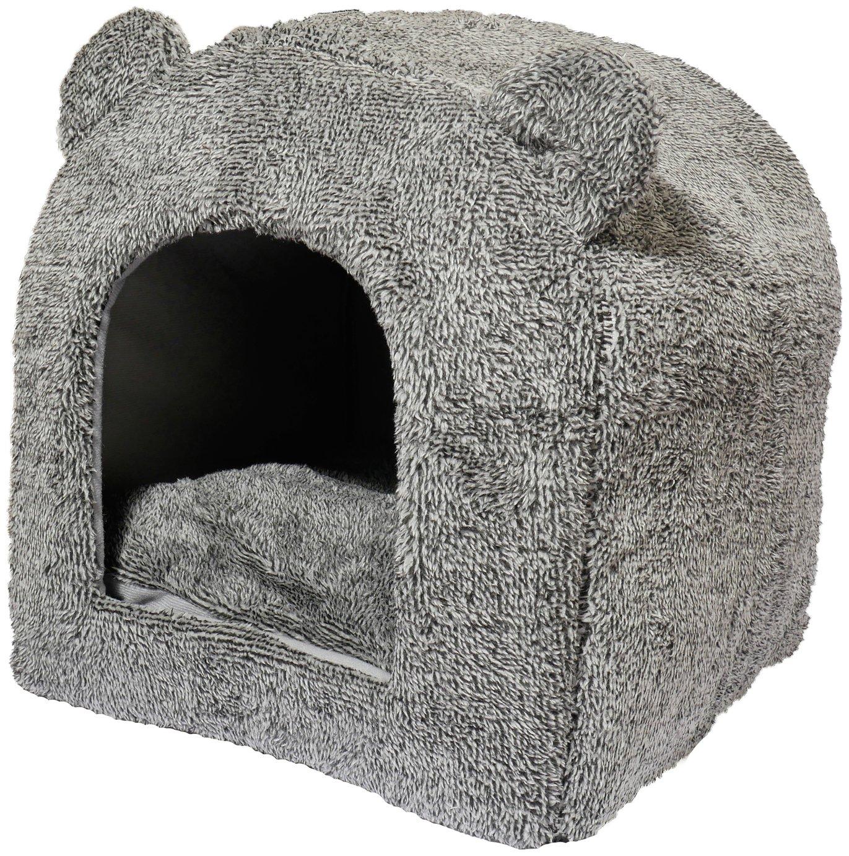 Rosewood Grey Teddy Bear Cat Bed