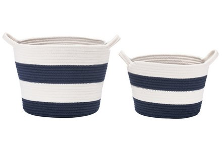 Collection Nautical Set of 2 Storage Baskets - Striped.