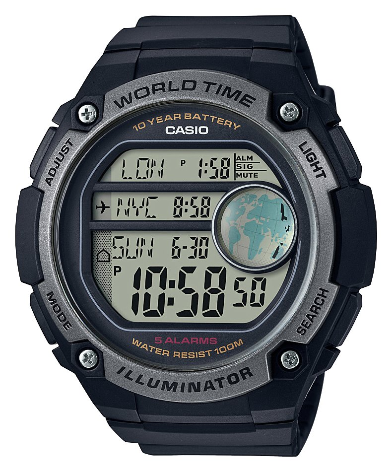 Casio Men's World Time Digital Black Resin Strap Watch