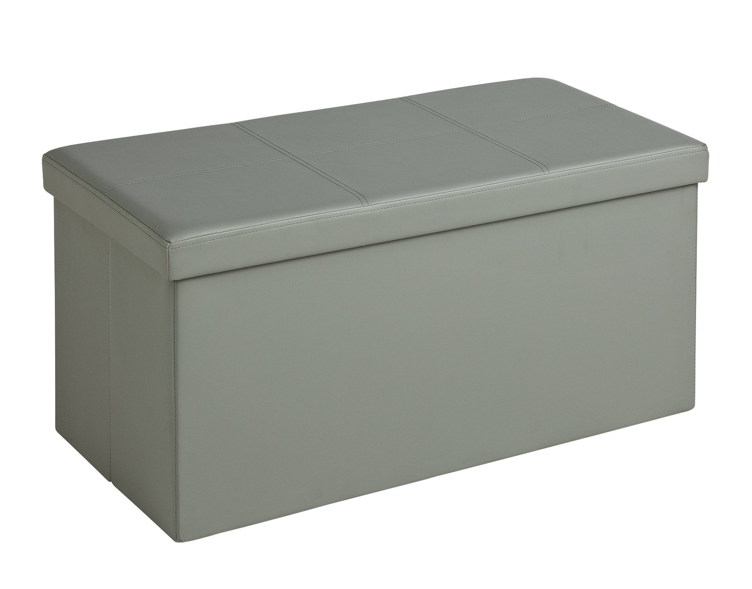 Buy HOME Large Faux Leather Ottoman Grey at Argoscouk Your