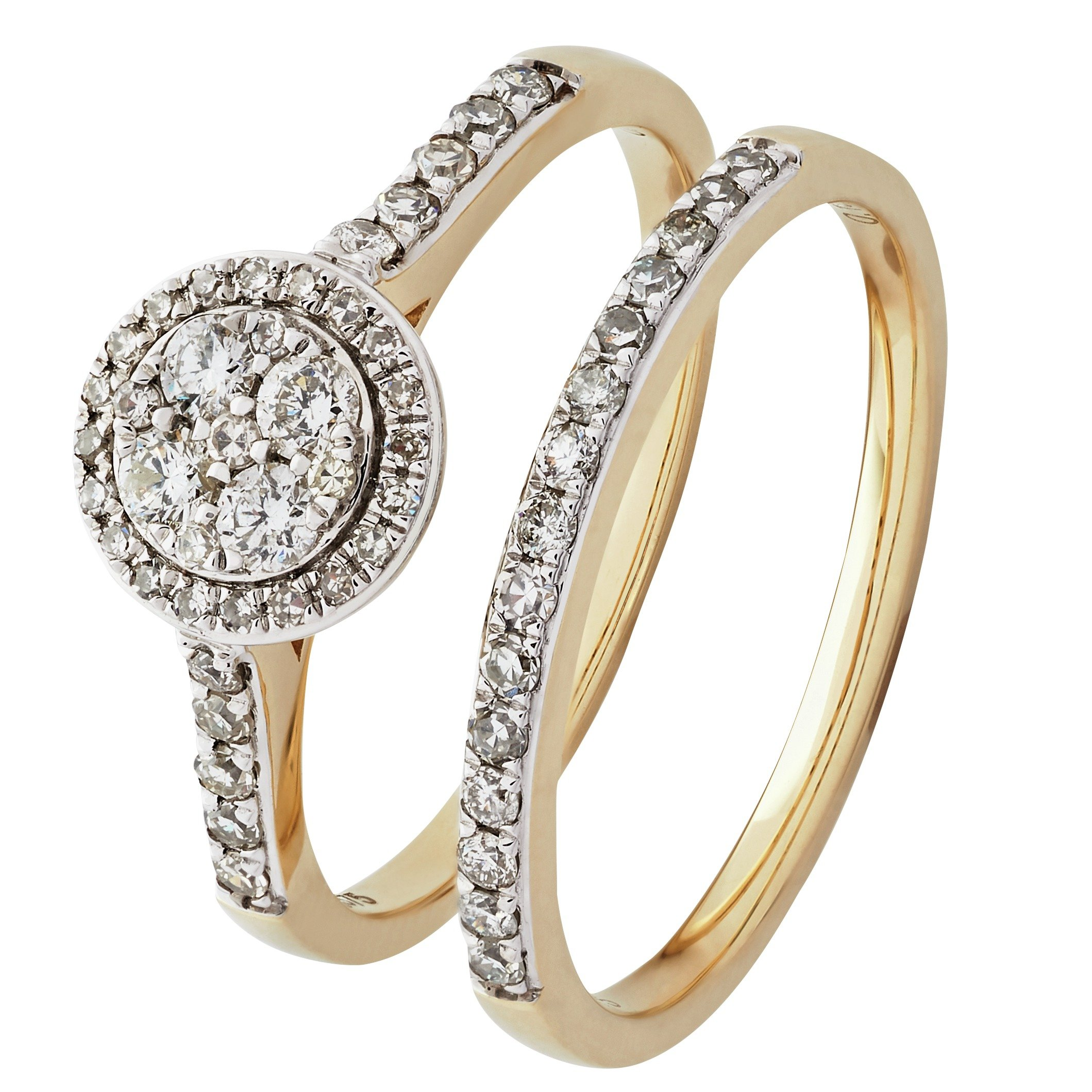 Revere 9ct Yellow Gold 0.50ct tw Diamond Bridal Ring Set