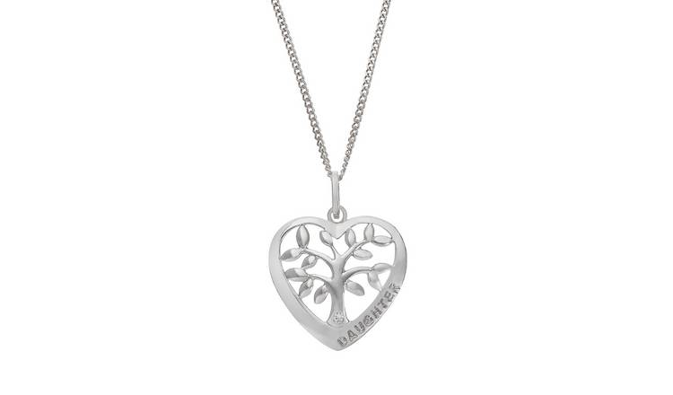Moon & Back Tree of Life Daughter Pendant 18 Inch Necklace