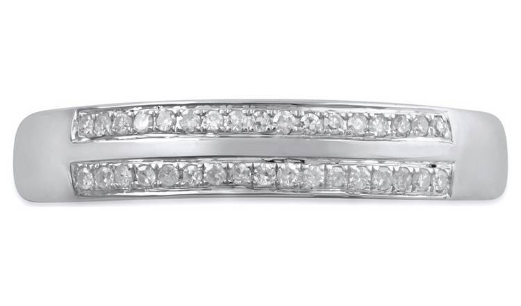 Revere 9ct White Gold 0.10cttw Diamond Two Row Band Ring -I