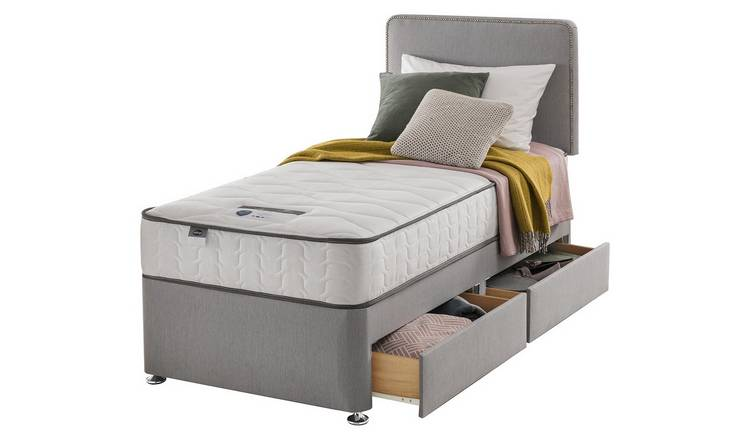 Silentnight Pavia Comfort 2 Drawer Grey Divan - Single