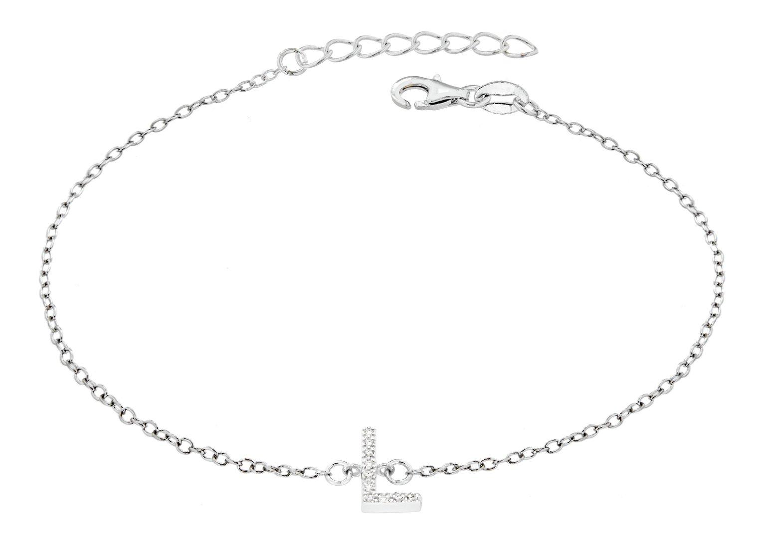 Sterling Silver Cubic Zirconia Initial Bracelet - L