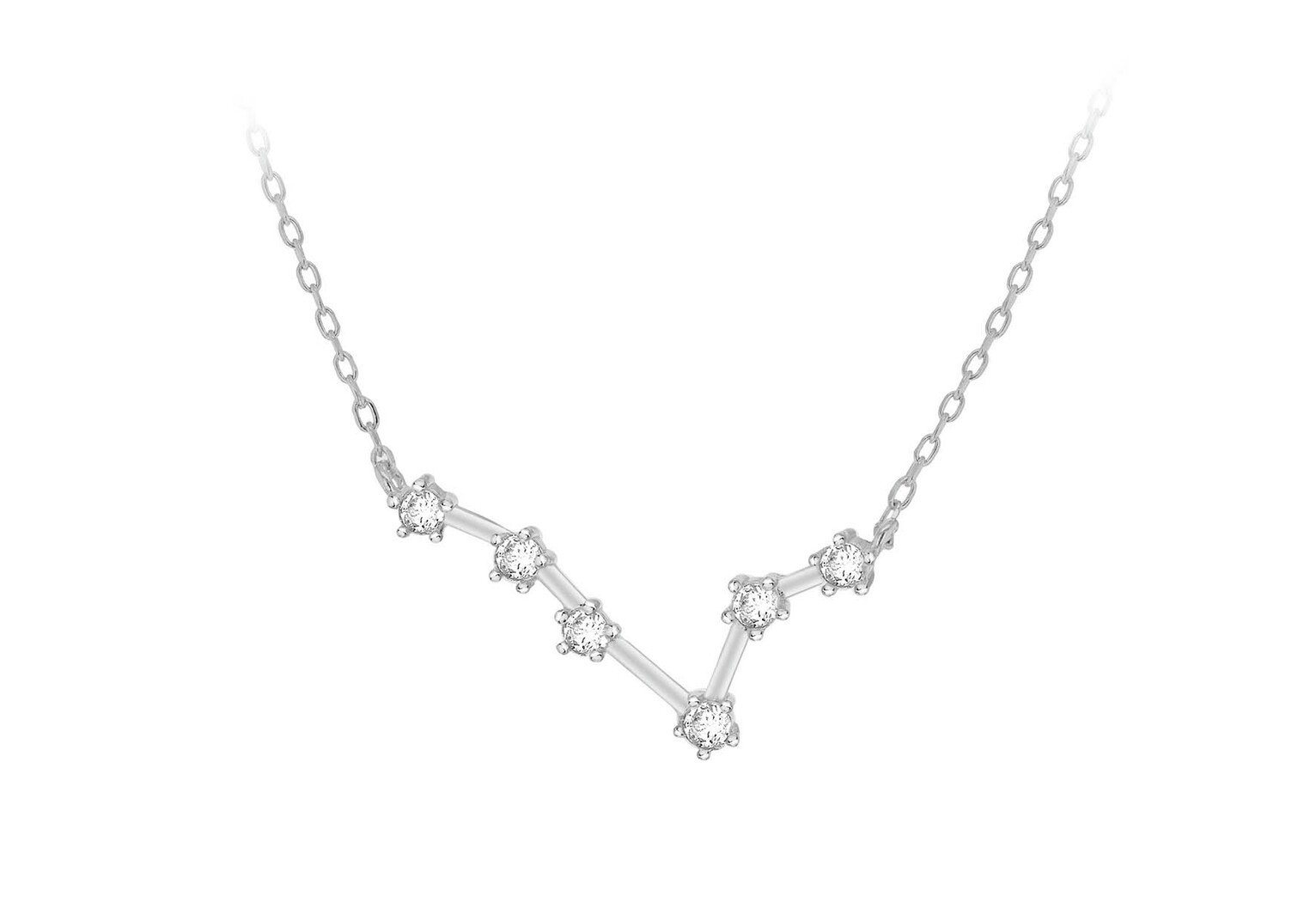 Sterling Silver Cubic Zirconia Star Sign - Pisces