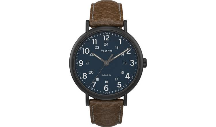 Timex Men's Brown Leather Strap Watch
