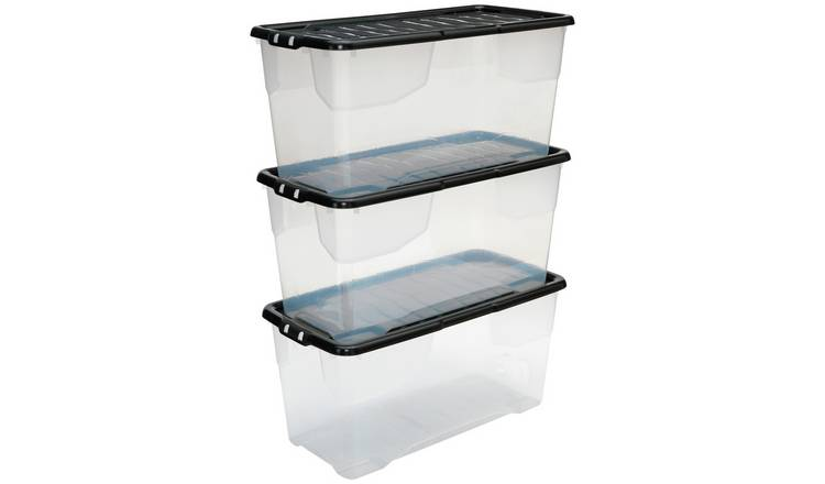 Argos Home Curve 80 Litre Lidded Storage Boxes - Set of 3