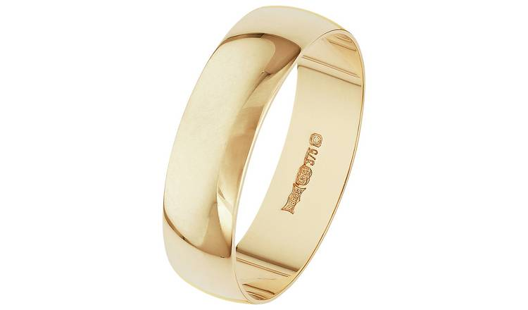 Revere 9ct Gold D-Shape Wedding Ring - 5mm - S
