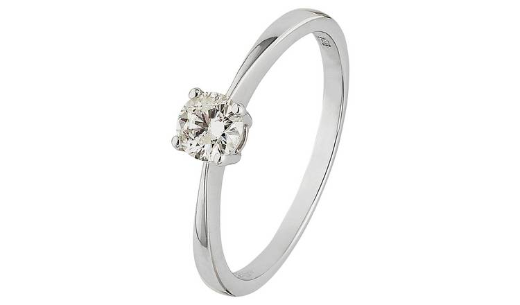 Revere 9ct White Gold 0.33ct Diamond Solitaire Ring - Size P