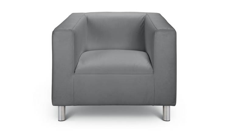 Buy Argos Home Moda Faux Leather Armchair - Grey ...