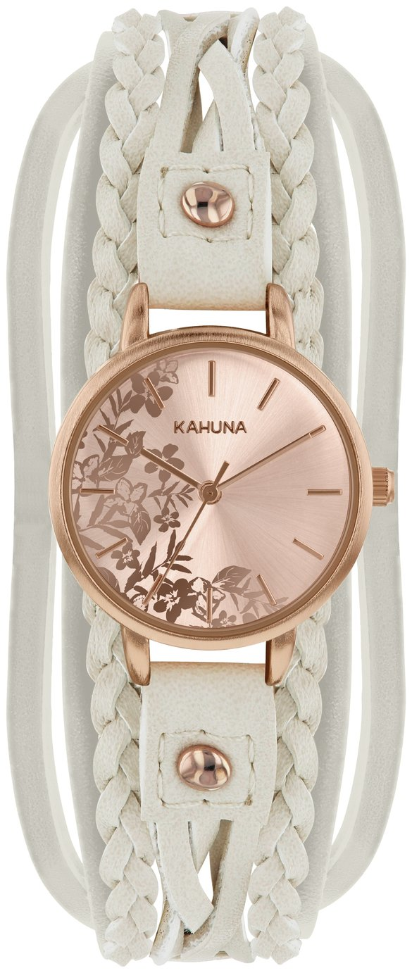 Kahuna Ladies' Rose Gold Dial with Cream Multi Strap Watch