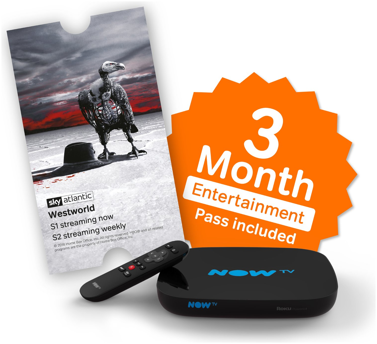 Image of NOW TV Box with 3 Month Sky Entertainment Pass