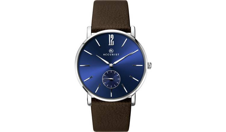 Accurist Men's Brown Leather Strap Watch