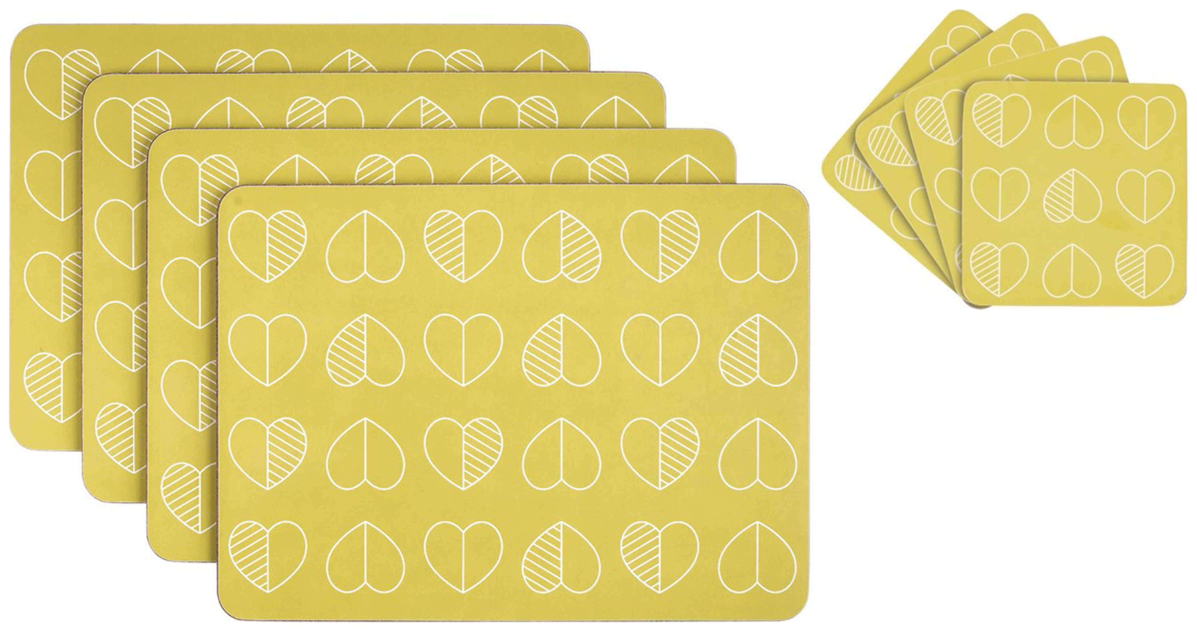 Image of Beau and Elliot Set of 4 Placemats and Coasters - Mustard.