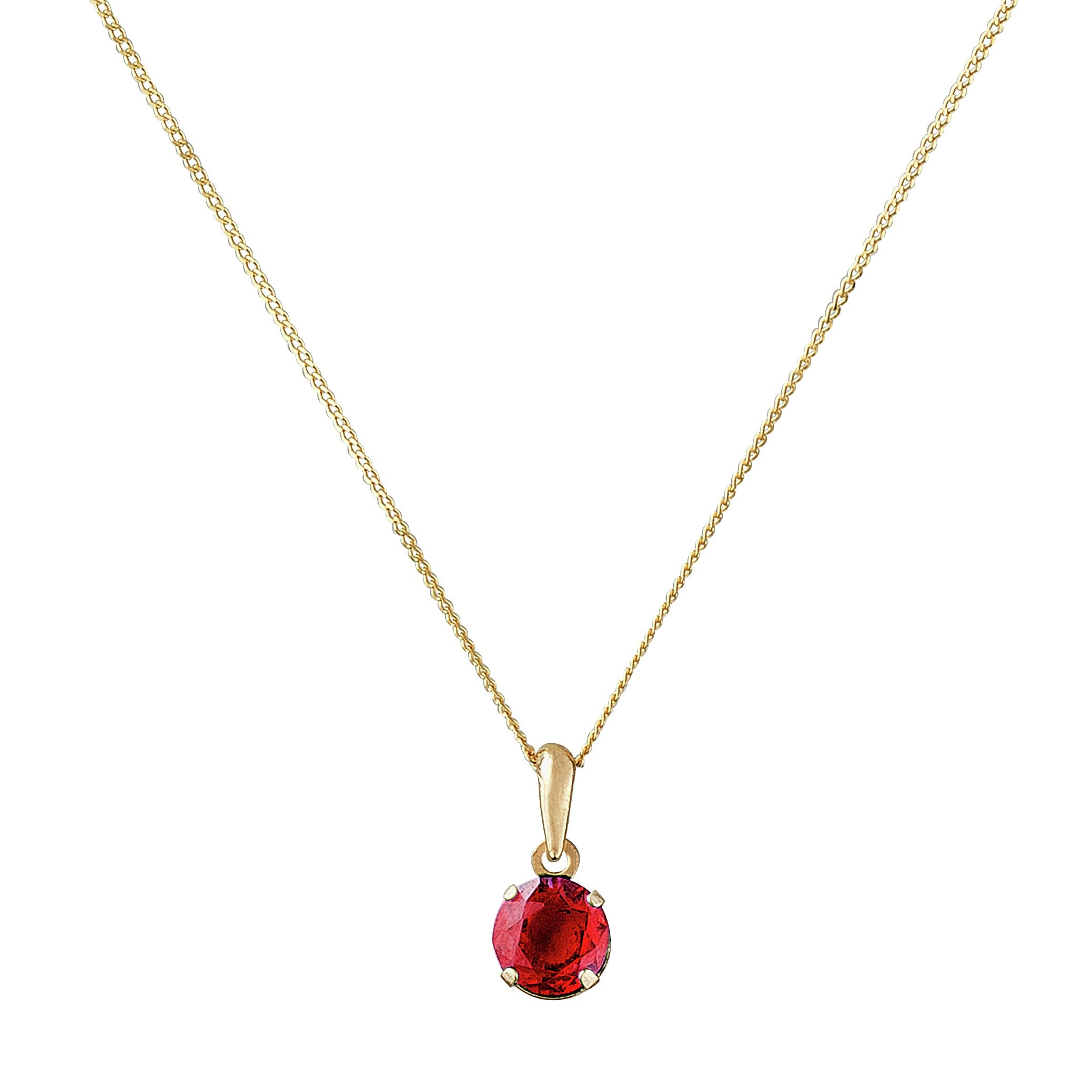 Image of Revere 9ct Gold 5mm Created Ruby Pendant - July