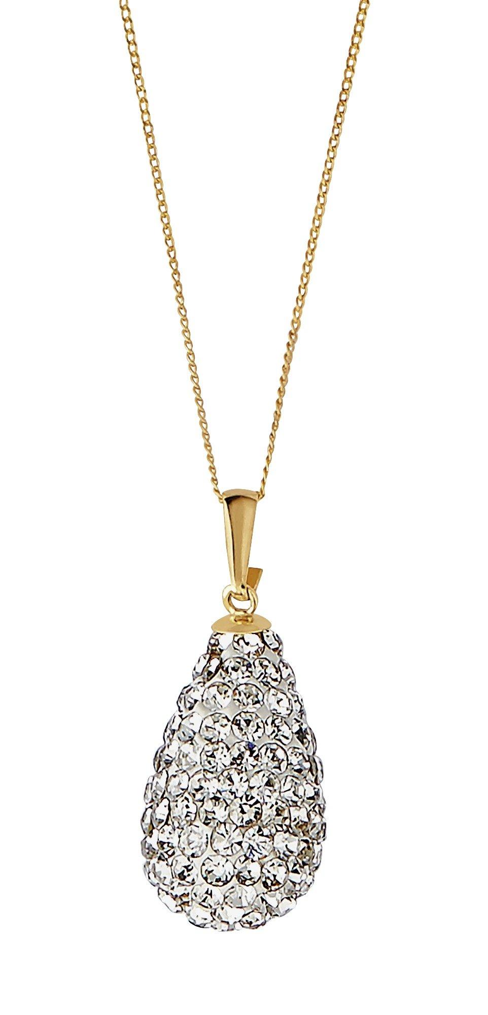 Revere 9ct Gold Crystal Drop Pendant