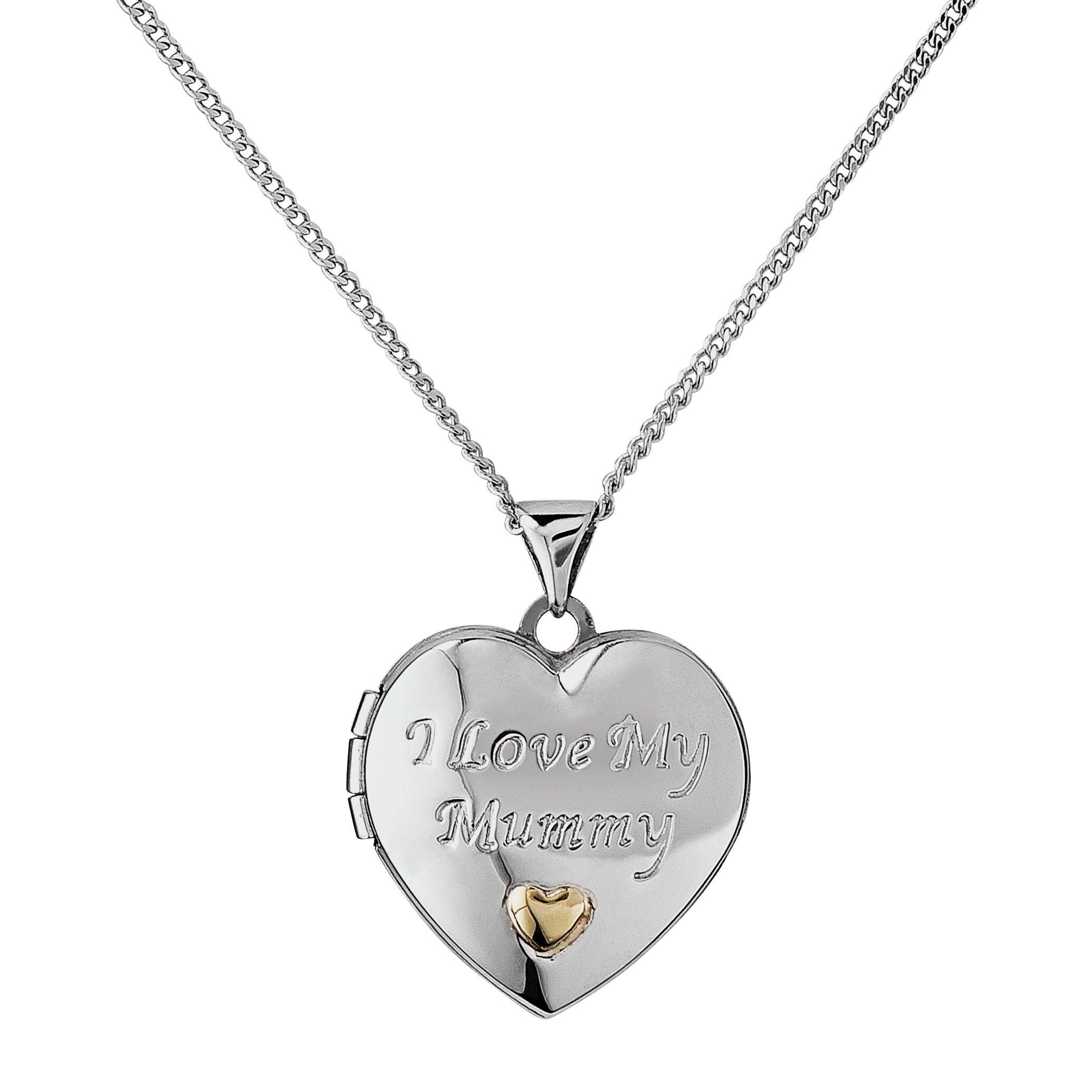 Moon & Back Silver 'I Love My Mummy' Locket 18 Inch Necklace