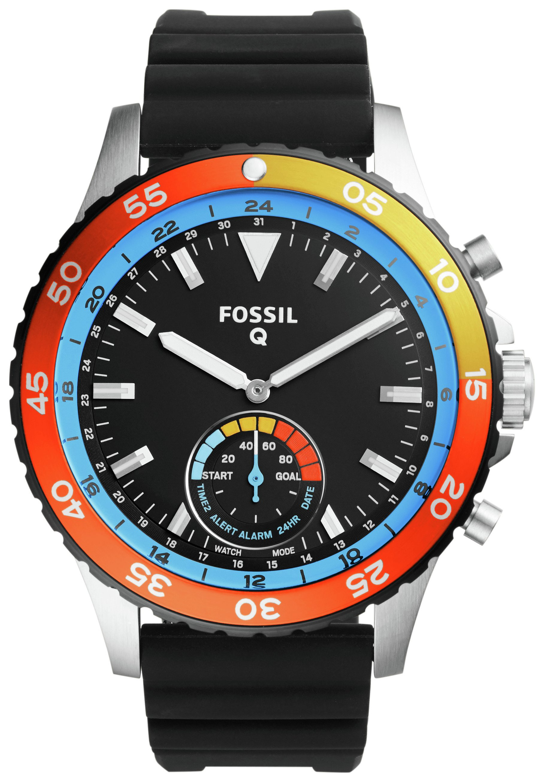 Image of Fossil Q Crewmaster Black Silicone Strap Hybrid Smart Watch