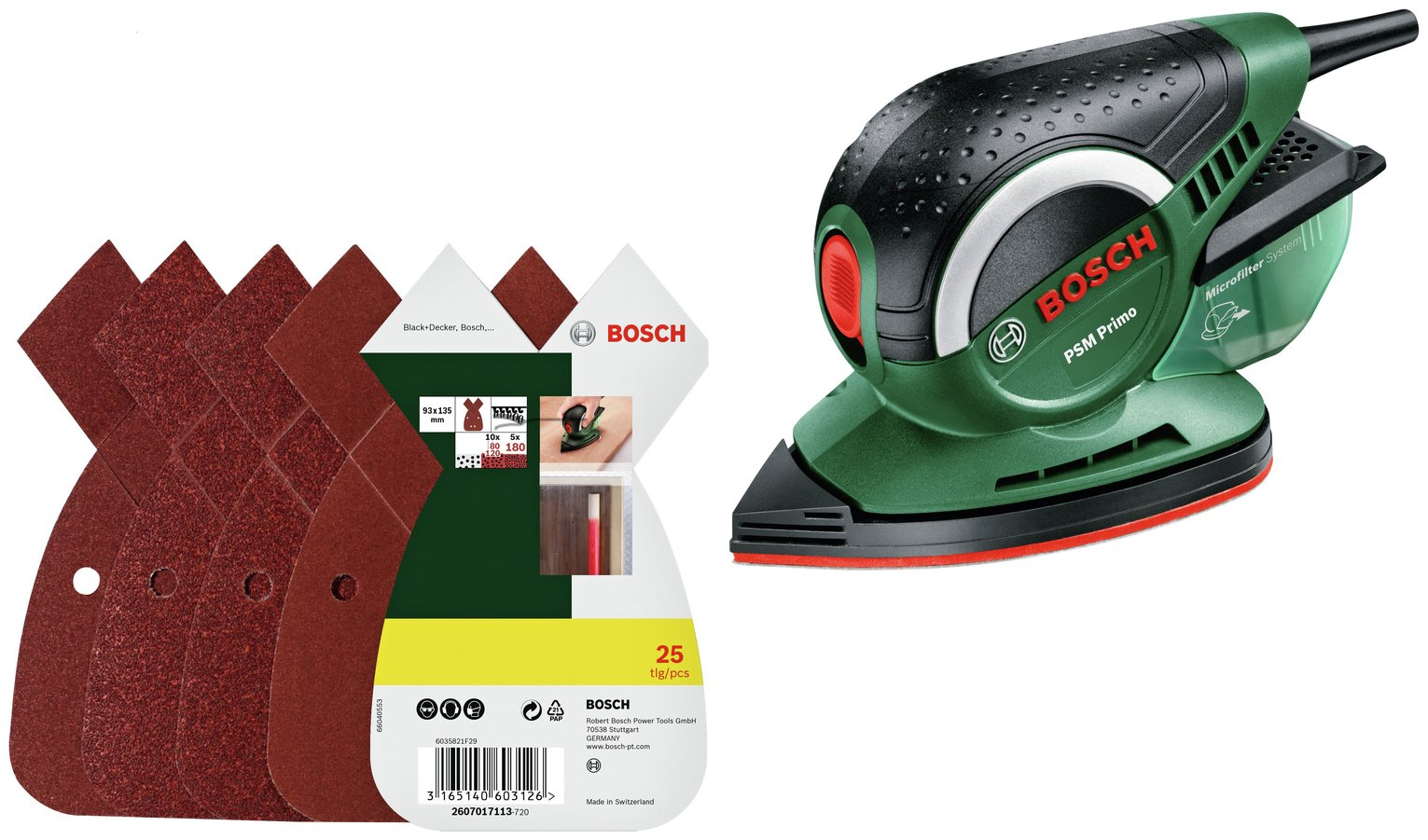 Bosch PSM Primo Detail Sander with 25 Sheets