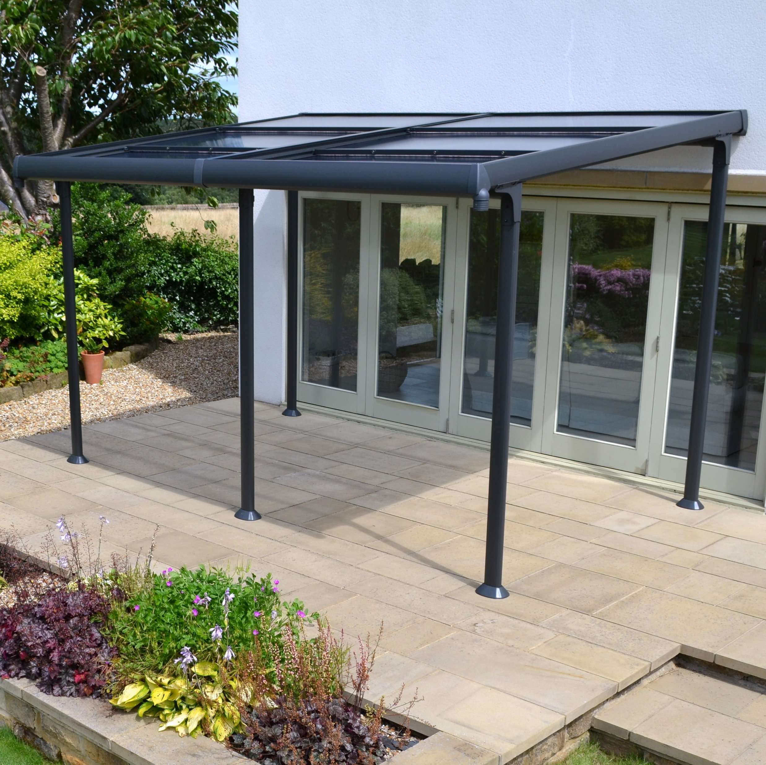 Aluminium 4m X 3m Wall Gazebo With Retractable Roof728/8313
