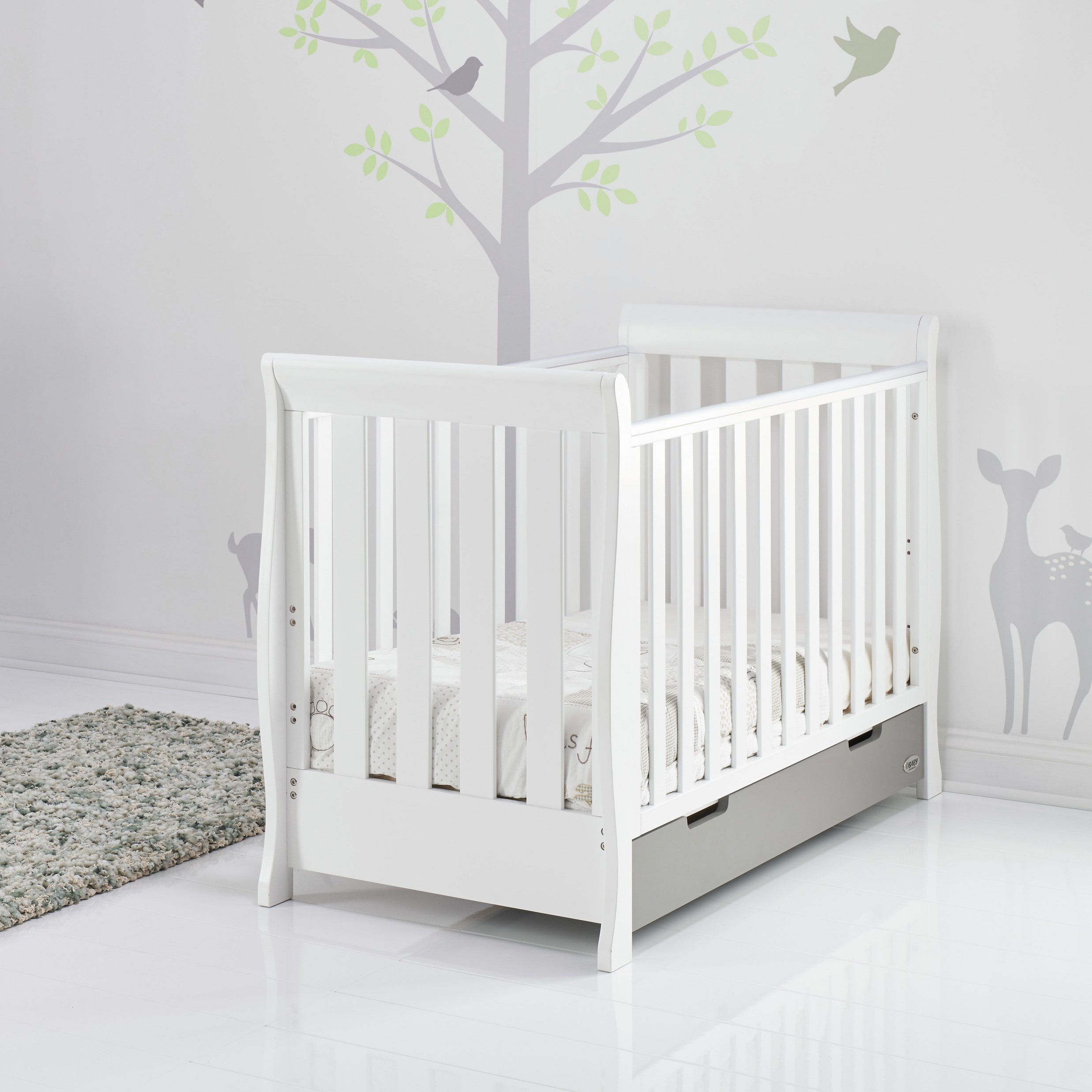 Obaby Stamford Mini Sleigh Cot Bed - White & Taupe Grey