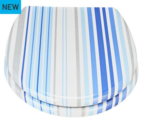 Buy HOME Bold Stripe Slow Close Toilet Seat Blue And Aqua At - Blue soft close toilet seat