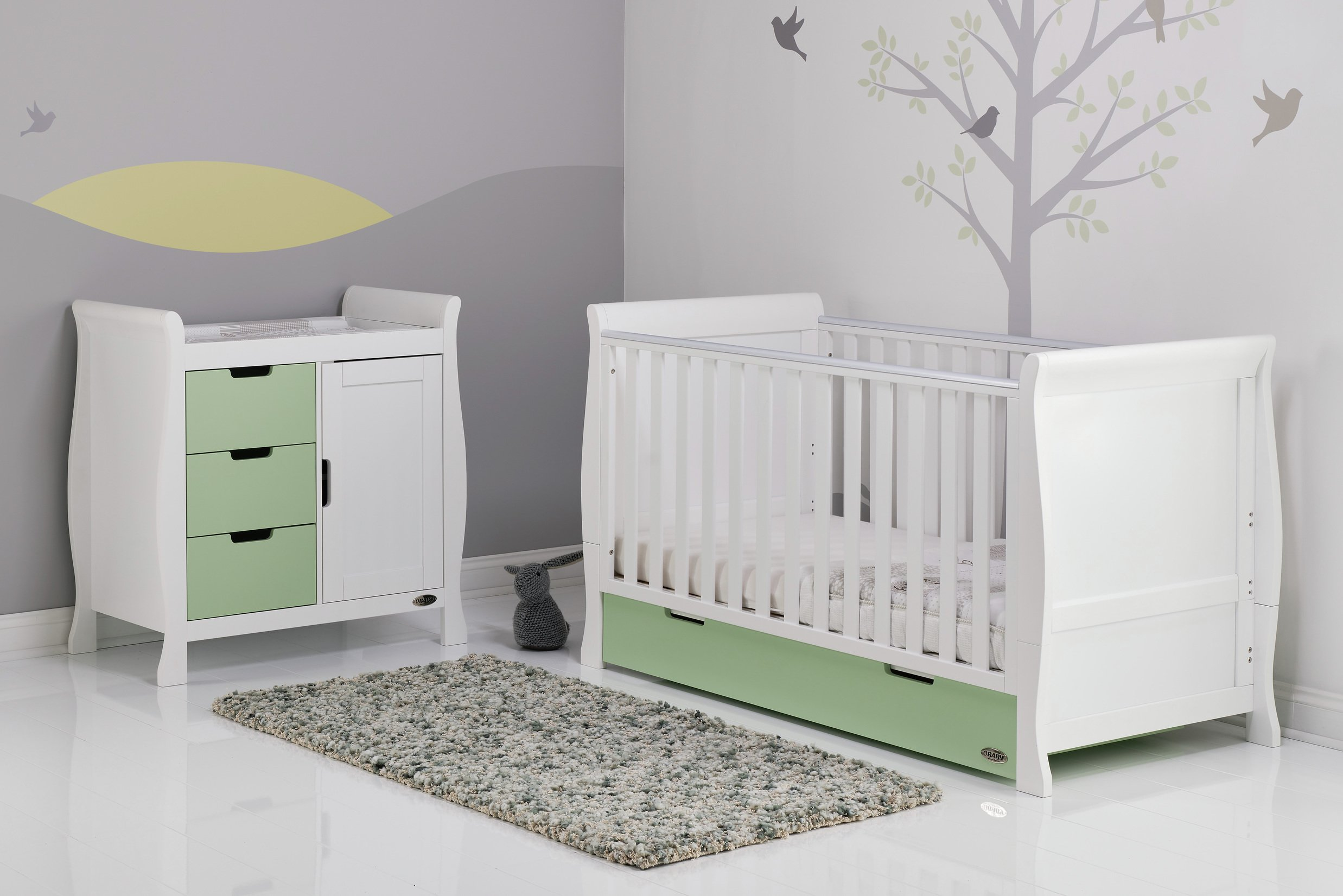 Obaby Stamford 2 Piece Room Set - White with Pistachio