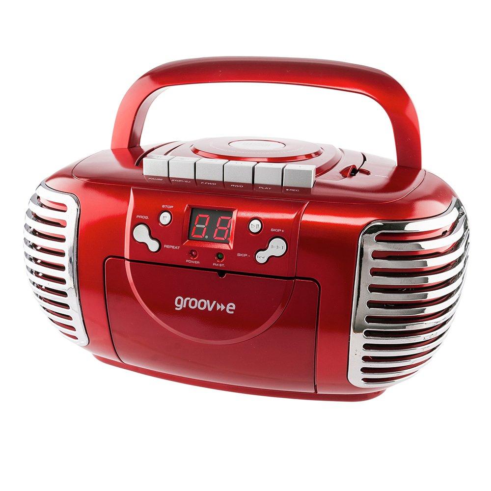 Groov-e Retro CD Boombox with Cassette & Radio - Red