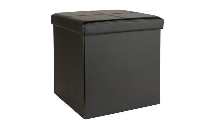 Argos Home Small Faux Leather Stitched Ottoman - Black
