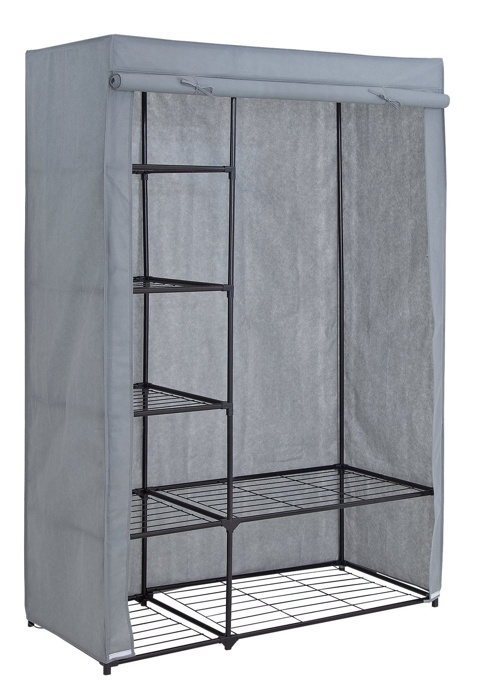 Argos Home Covered Double Wardrobe with Storage - Grey