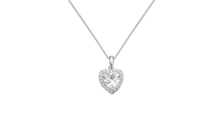 Revere Sterling Silver Heart Halo  Curb Pendant Necklace