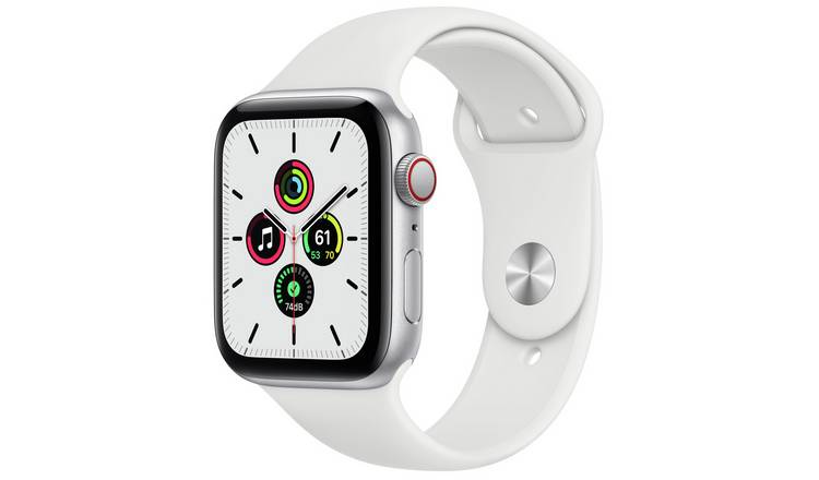 Apple Watch SE Cell 44mm Silver Alu Case/White Sport Band