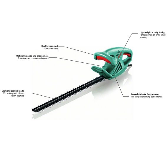 buy bosch ahs 60 16 corded hedge trimmer 450w at argos. Black Bedroom Furniture Sets. Home Design Ideas