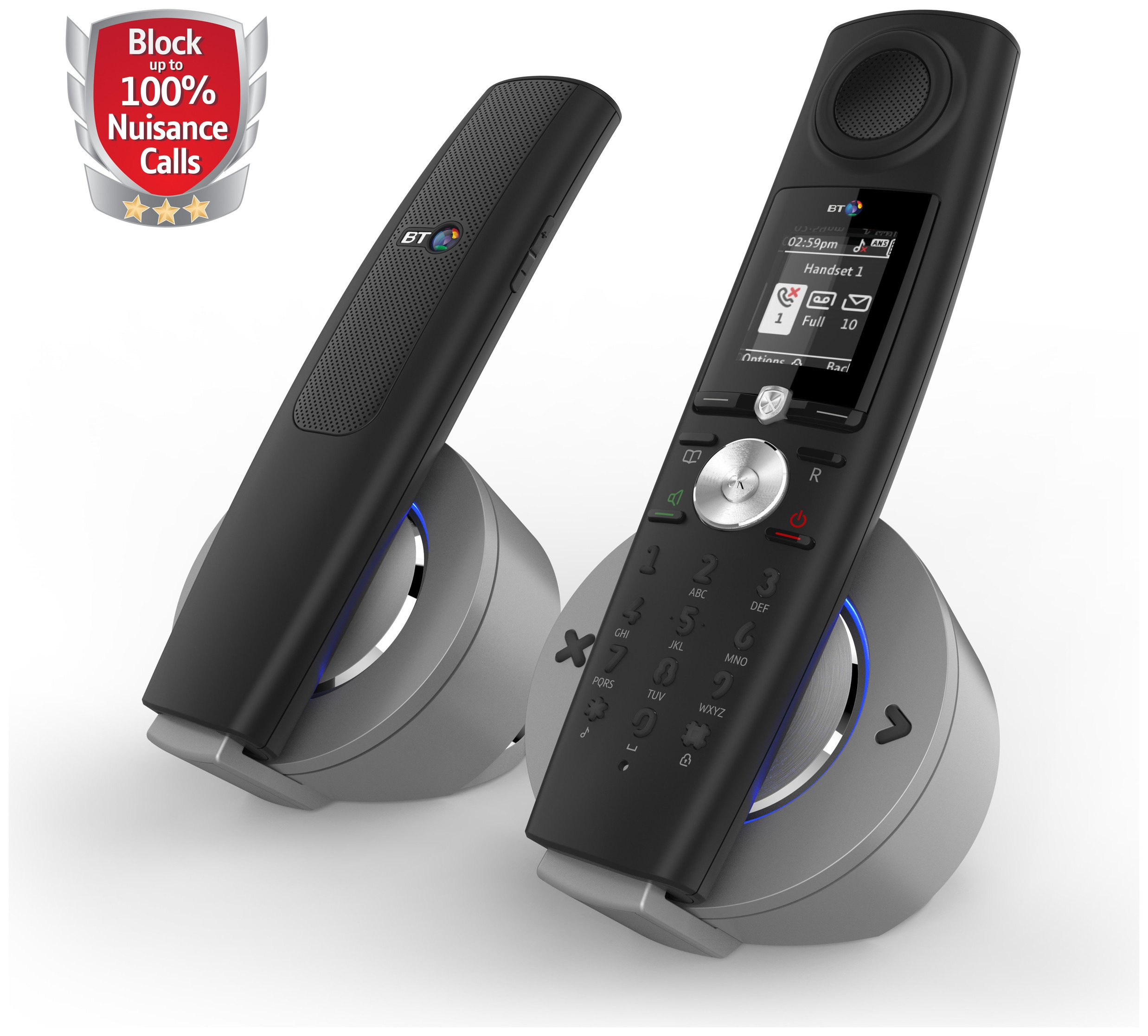 Image of BT Halo Cordless Telephone with Answer Machine - Twin