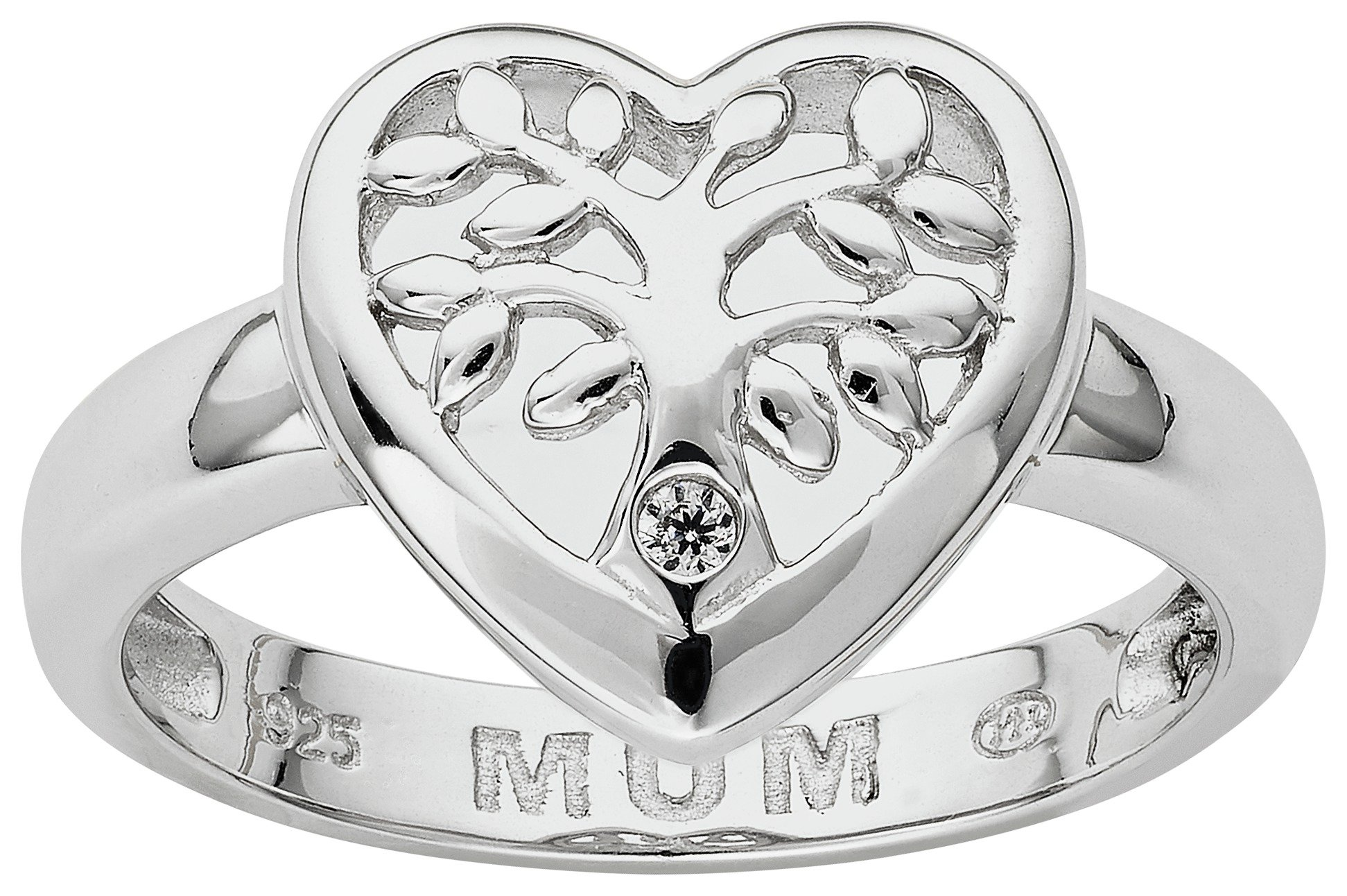 Image of Moon & Back Sterling Silver Family Tree 'Mum' CZ Heart Ring