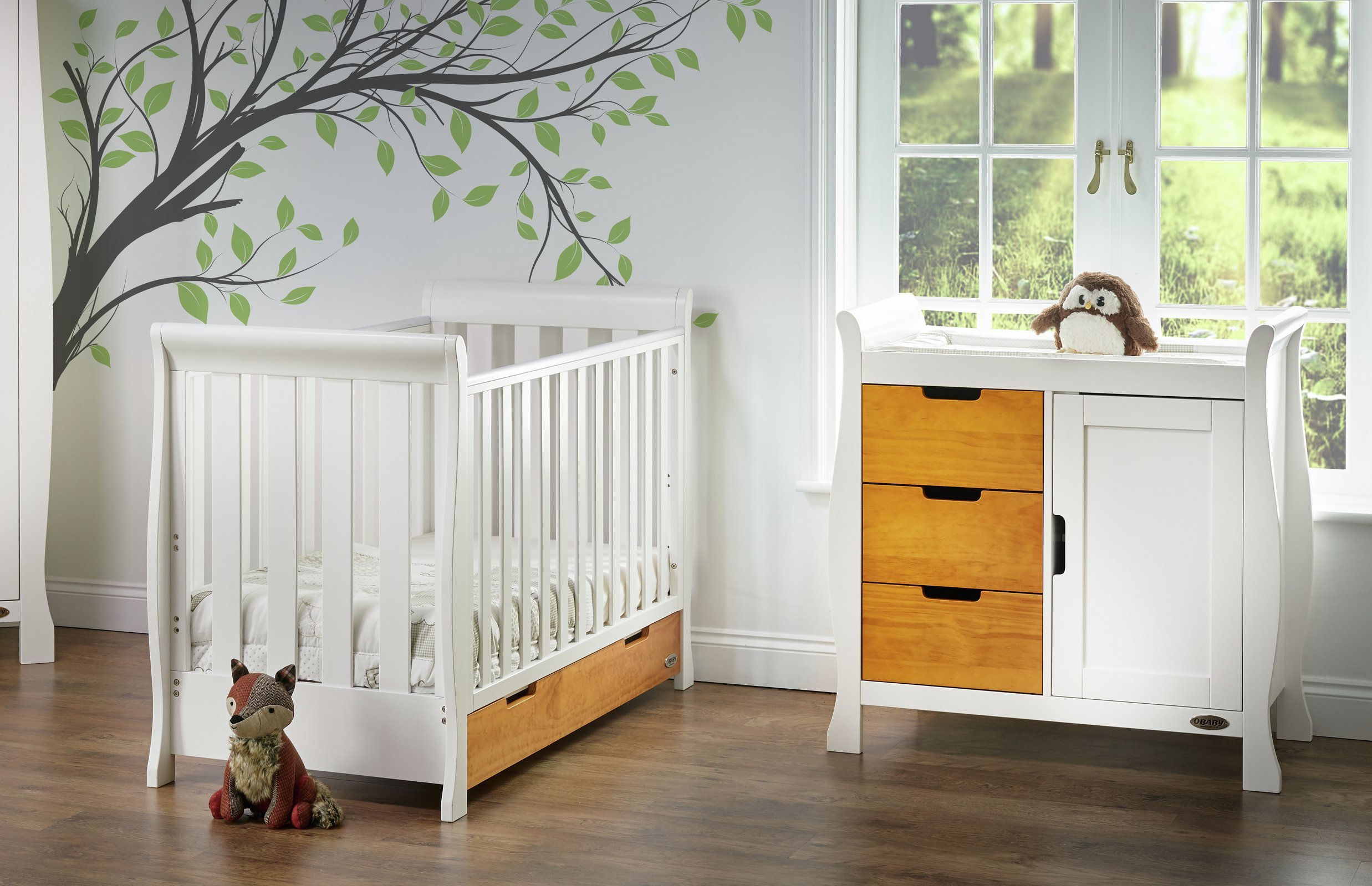 Obaby Stamford Mini 2 Piece Room Set - White with Pine