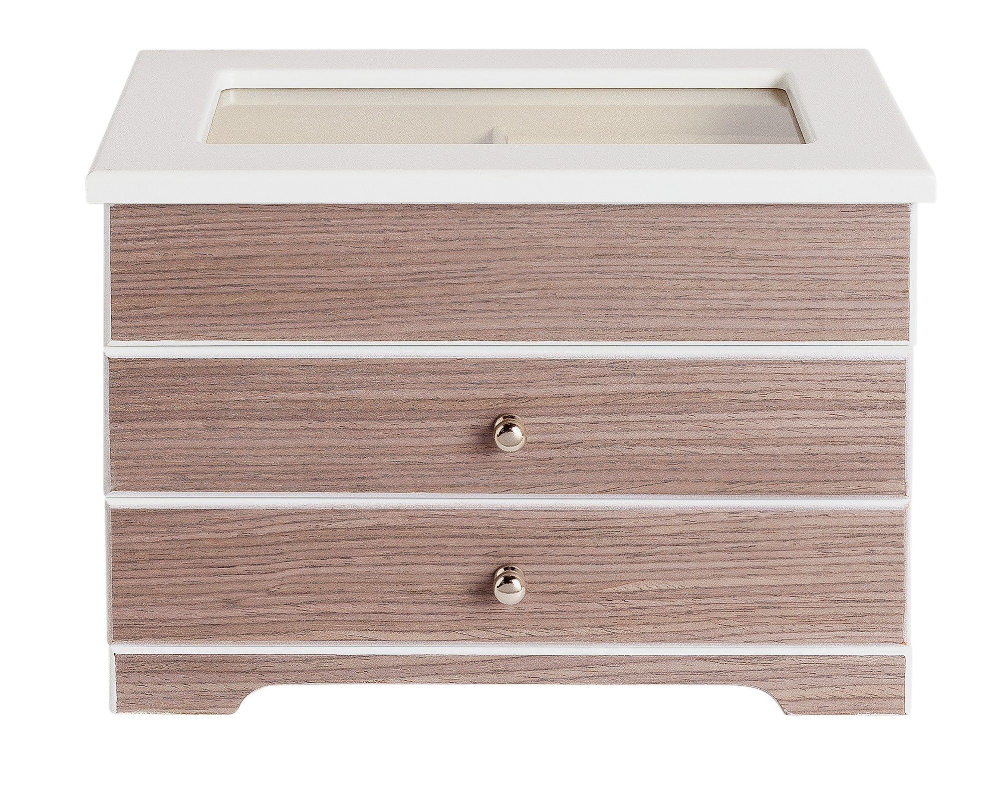White and Grey Wooden 2 Drawer Jewellery Box
