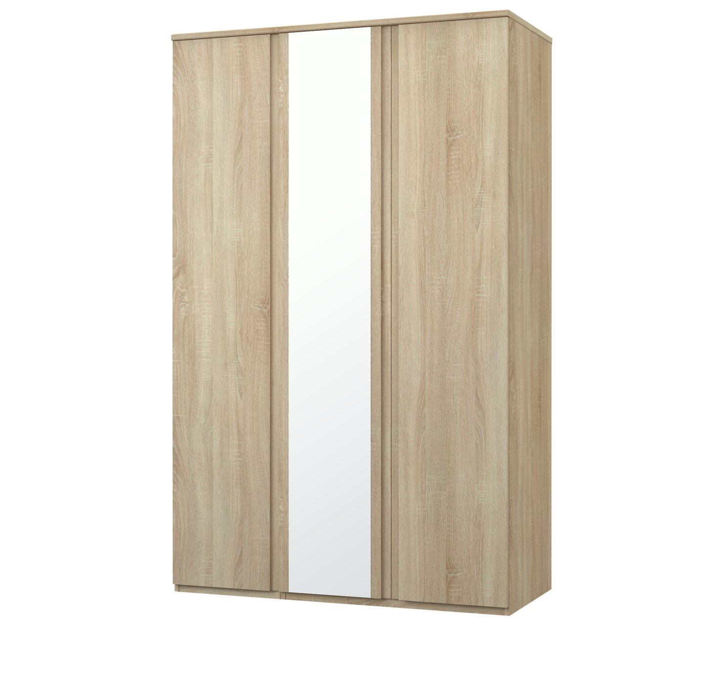 Image of Avenue 3 Door Mirrored Wardrobe - Natural Oak Effect