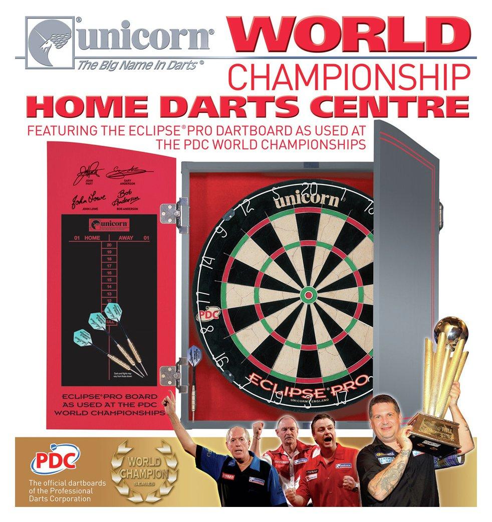 Unicorn World Championship Dartboard, Cabinet and Darts.