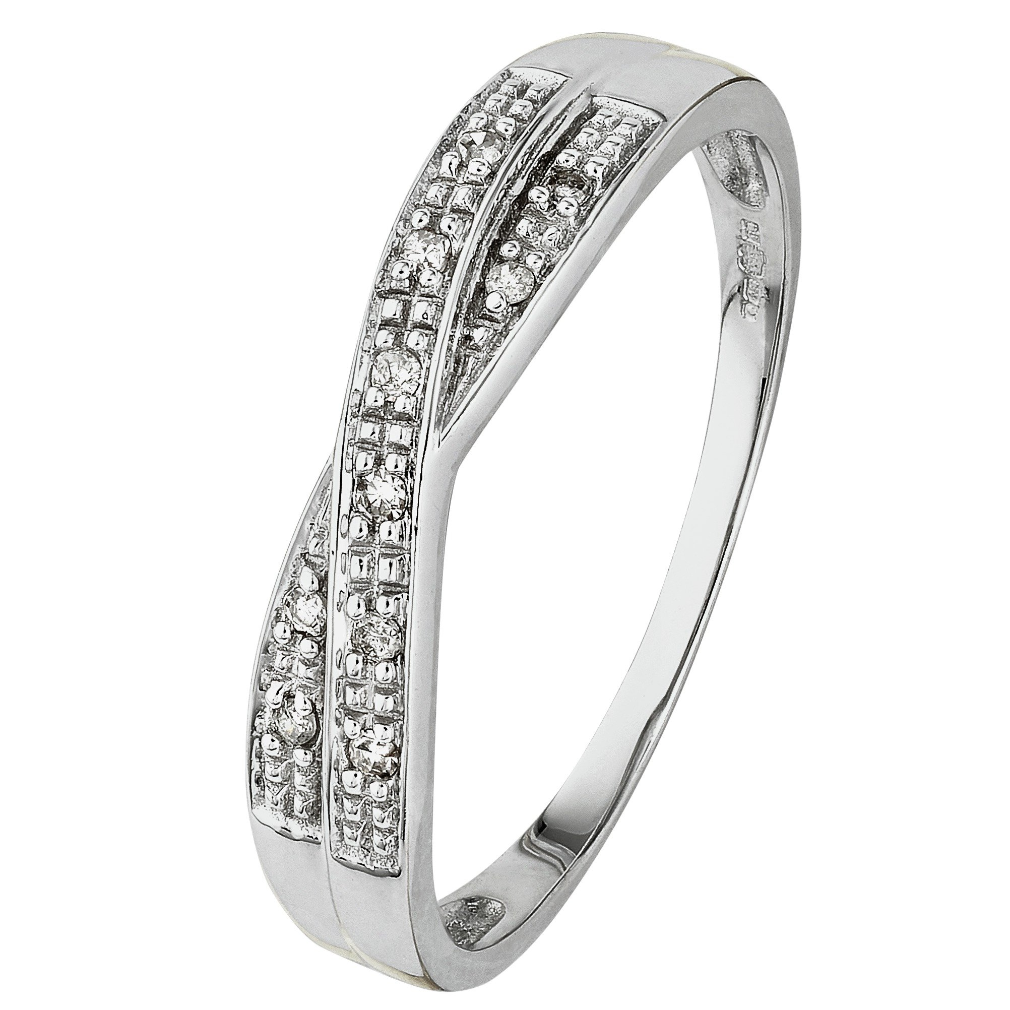 Buy Revere 9ct White Gold Diamond Accent Crossover Eternity Ring