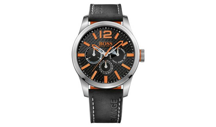 Buy Boss Orange Paris Men S Black Leather Strap Watch Men S Watches Argos