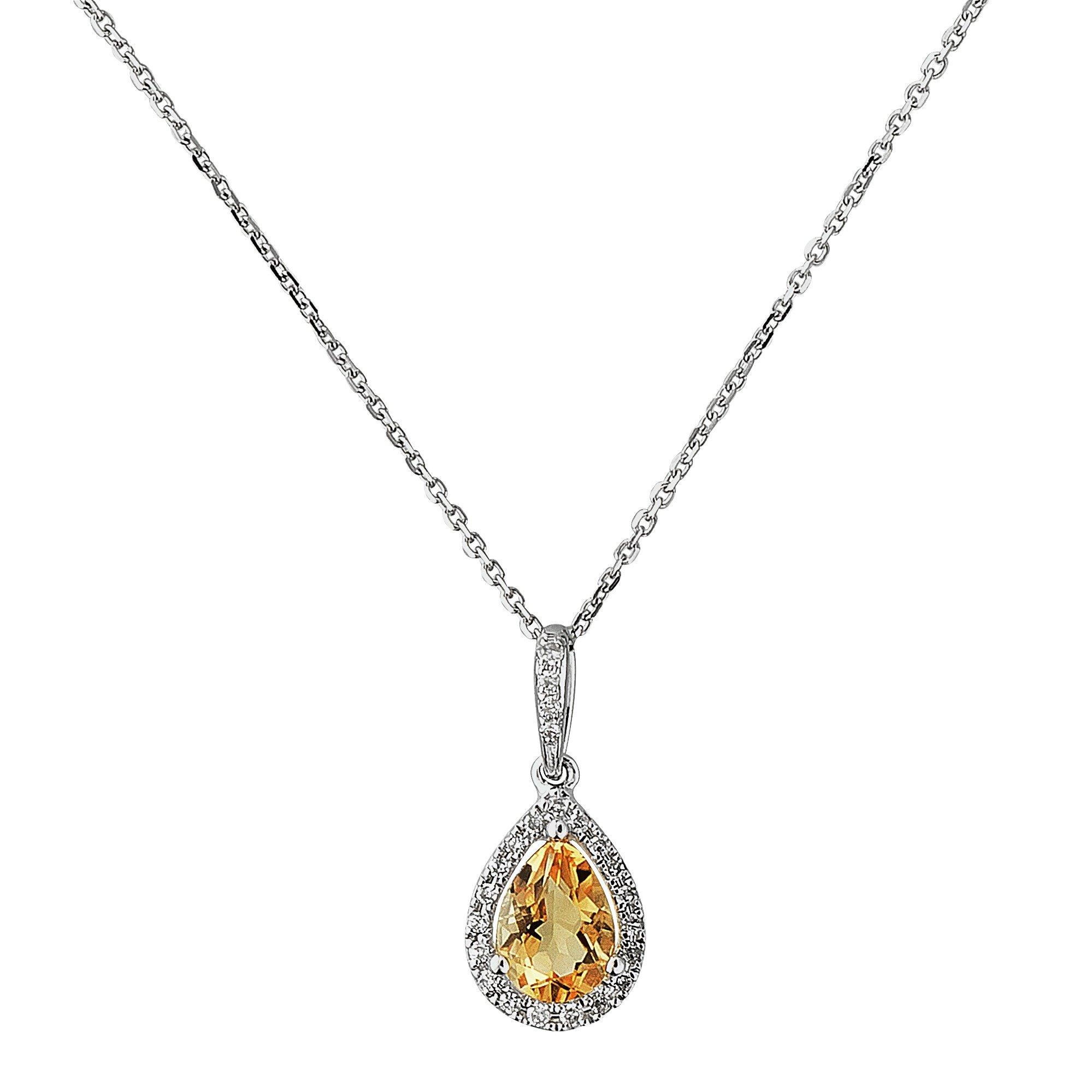 Revere 9ct White Gold Citrine and 0.08ct Diamond Pendant