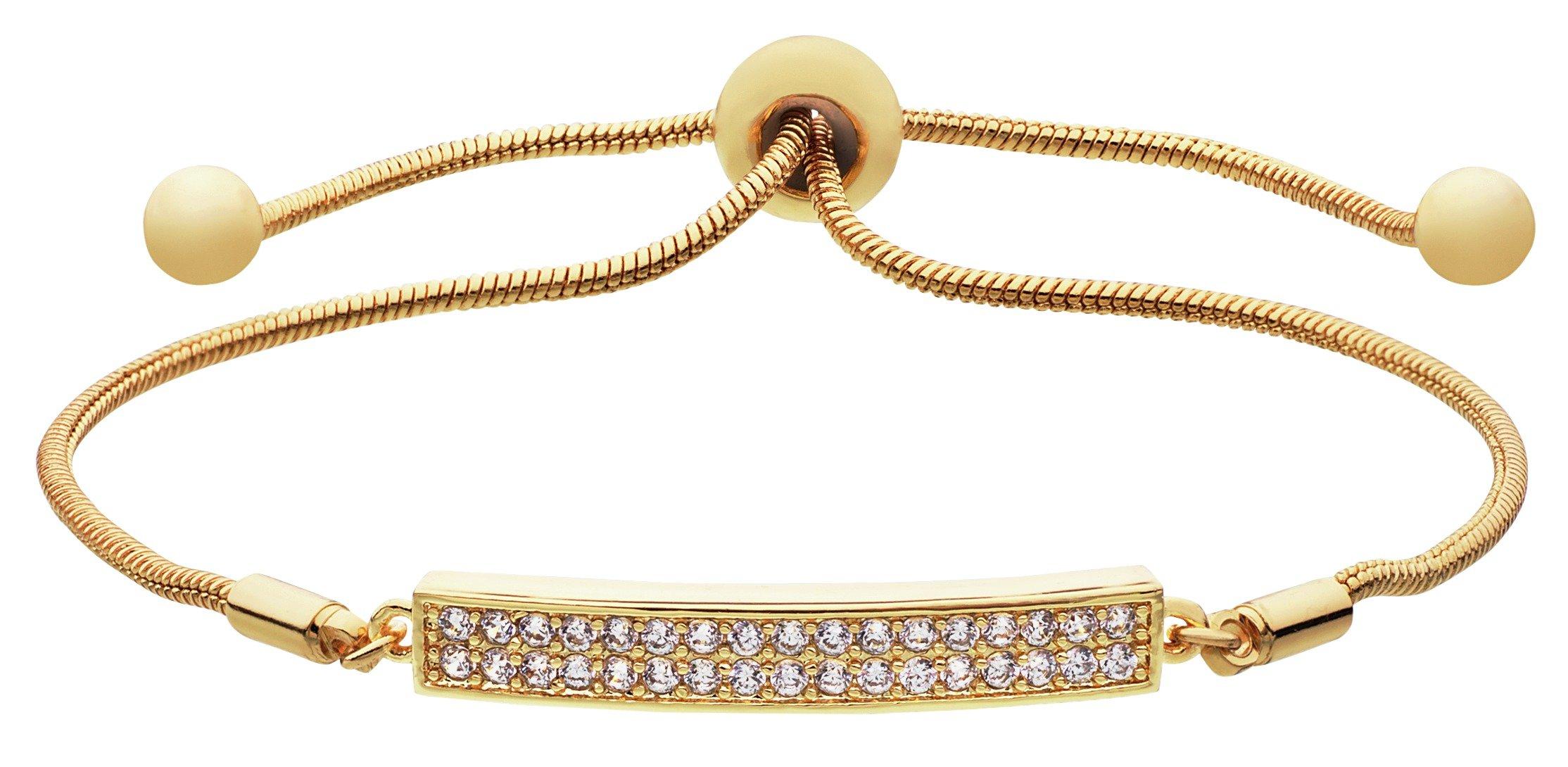 Image of Amelia Grace 18ct Gold Plated CZ Snake Chain Slider Bracelet