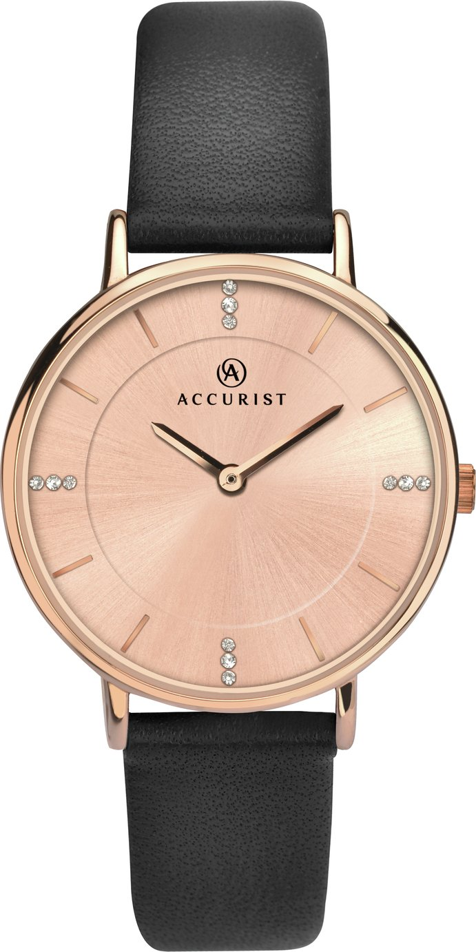 Image of Accurist Ladies' Rose Colour Dial Black Leather Strap Watch