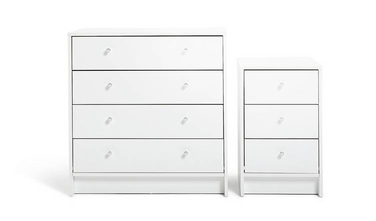 Argos Home Malibu Bedside Table & 4 Drawer Chest Set - White