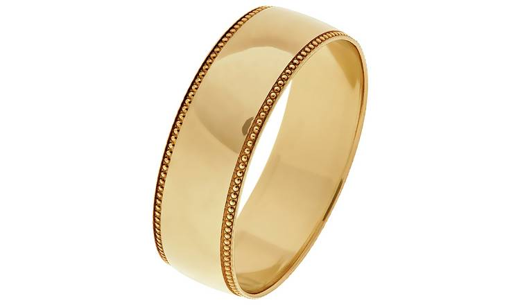 Revere 9ct Gold Plain Milgrain Wedding Ring - 6mm - T
