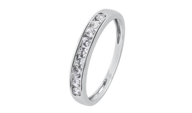 Revere 9ct White Gold Channel Set Eternity Ring - L