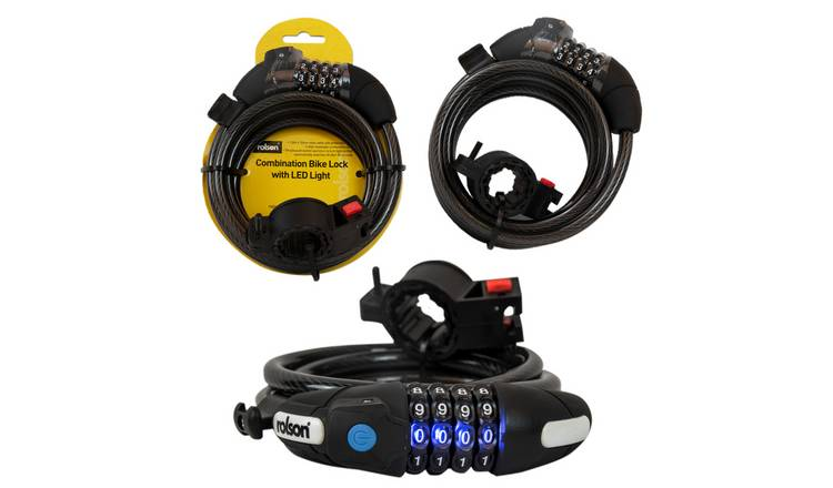 Rolson LED Light Combination Cable Bike Lock - 1.8m