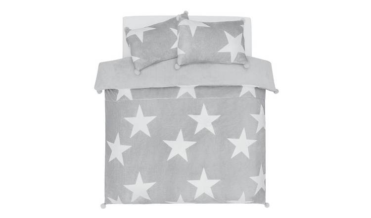Argos Home Grey Stars Fleece Bedding Set - Double